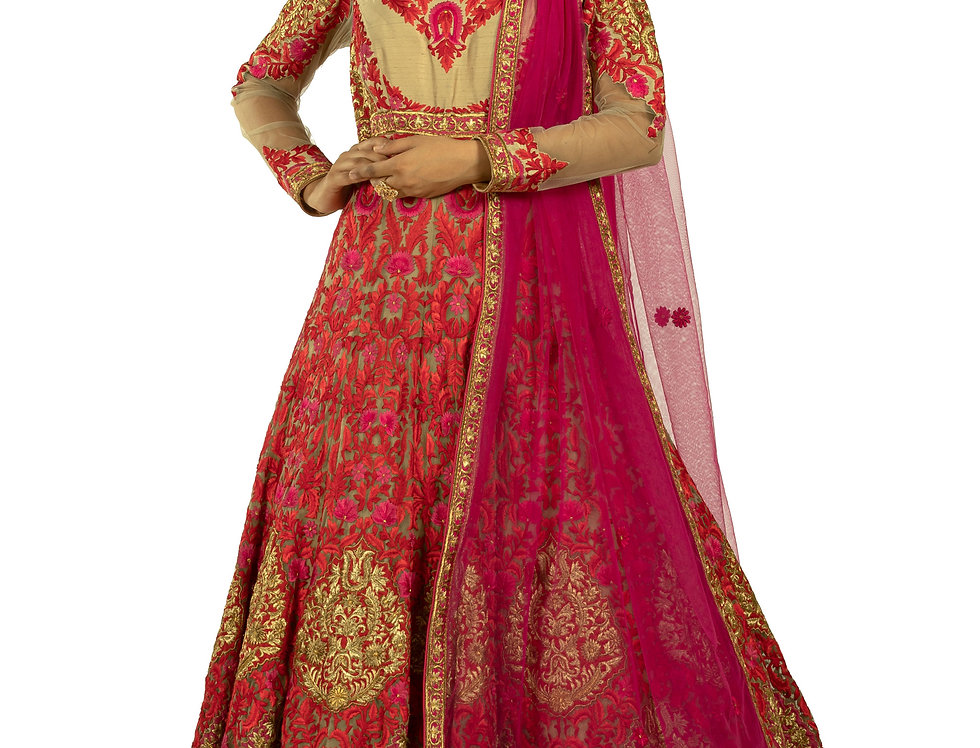 Golden Silk Anarkali Suit with Red Embroidery & Dupatta (Style Code: 2327198)