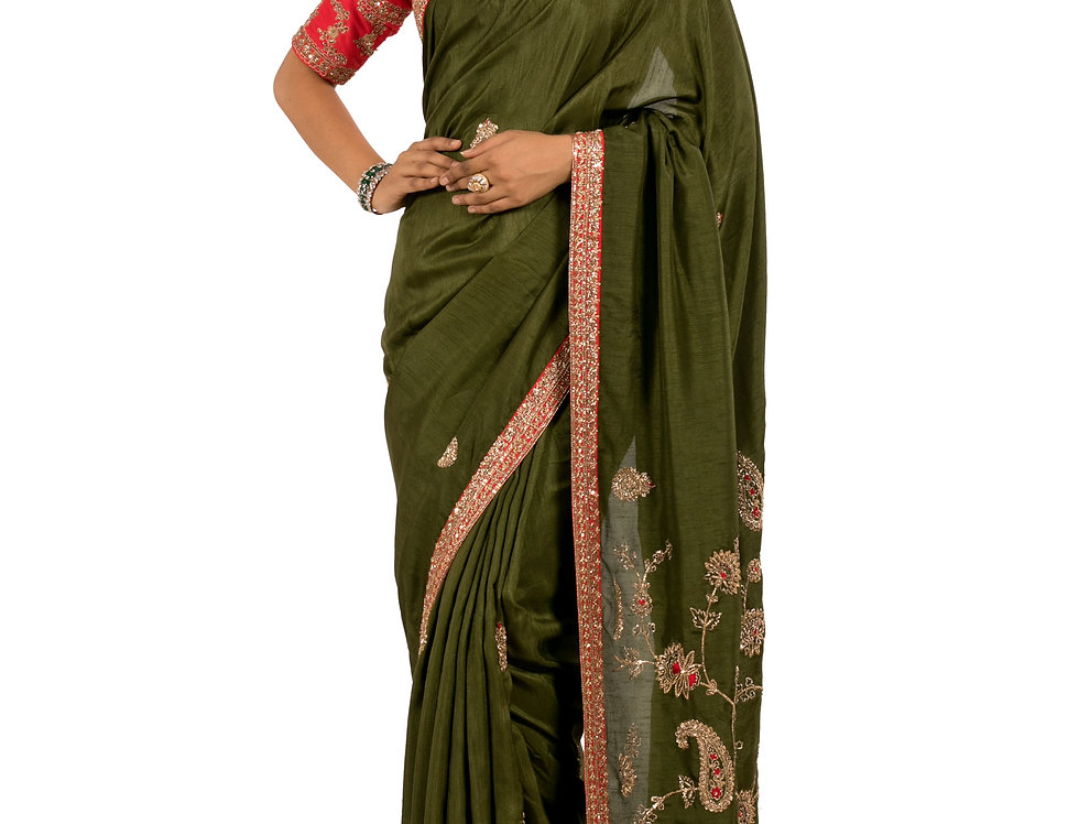 Mehendi Green Base Habotai Silk Designer Saree with Blouse (Style Code: 2313298)