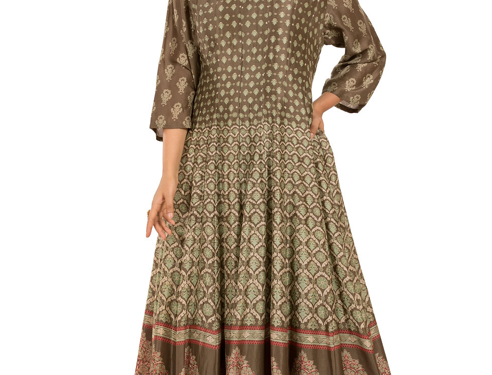 Mehendi Green Base Printed Floor Length Western Dress (Style Code: 2385399)