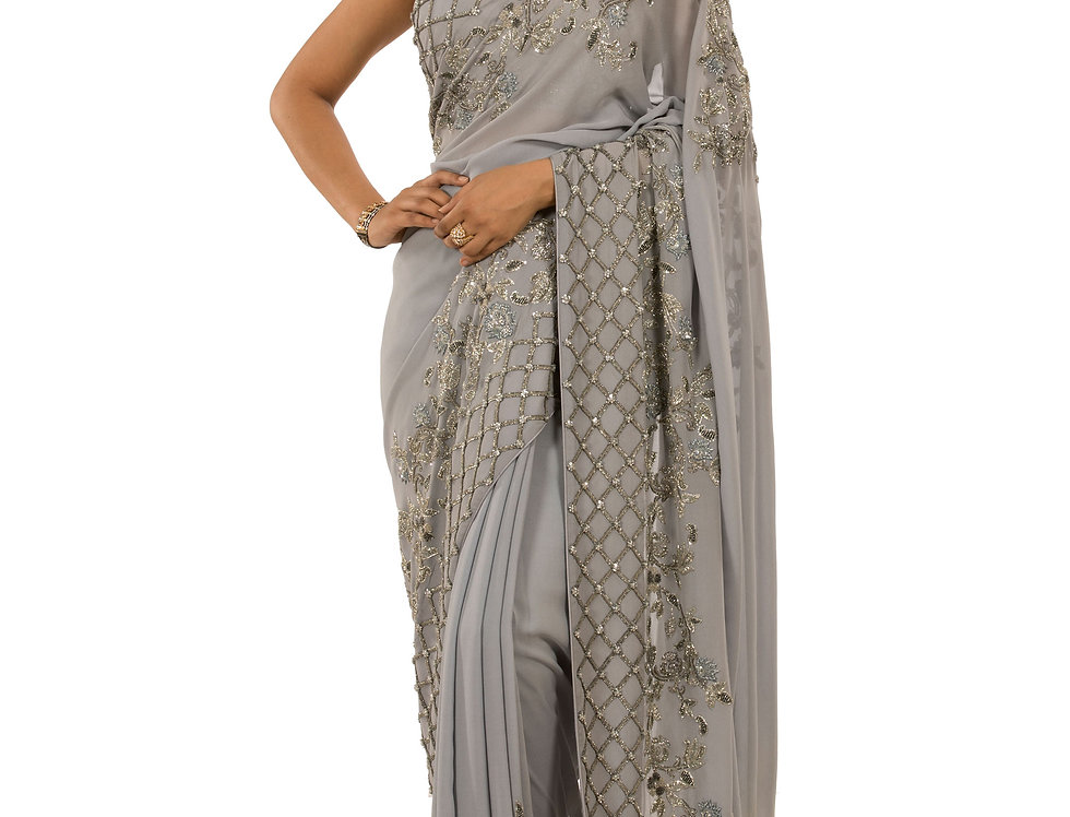 Grey Base Georgette Designer Saree with Blouse (Style Code: 2176599)