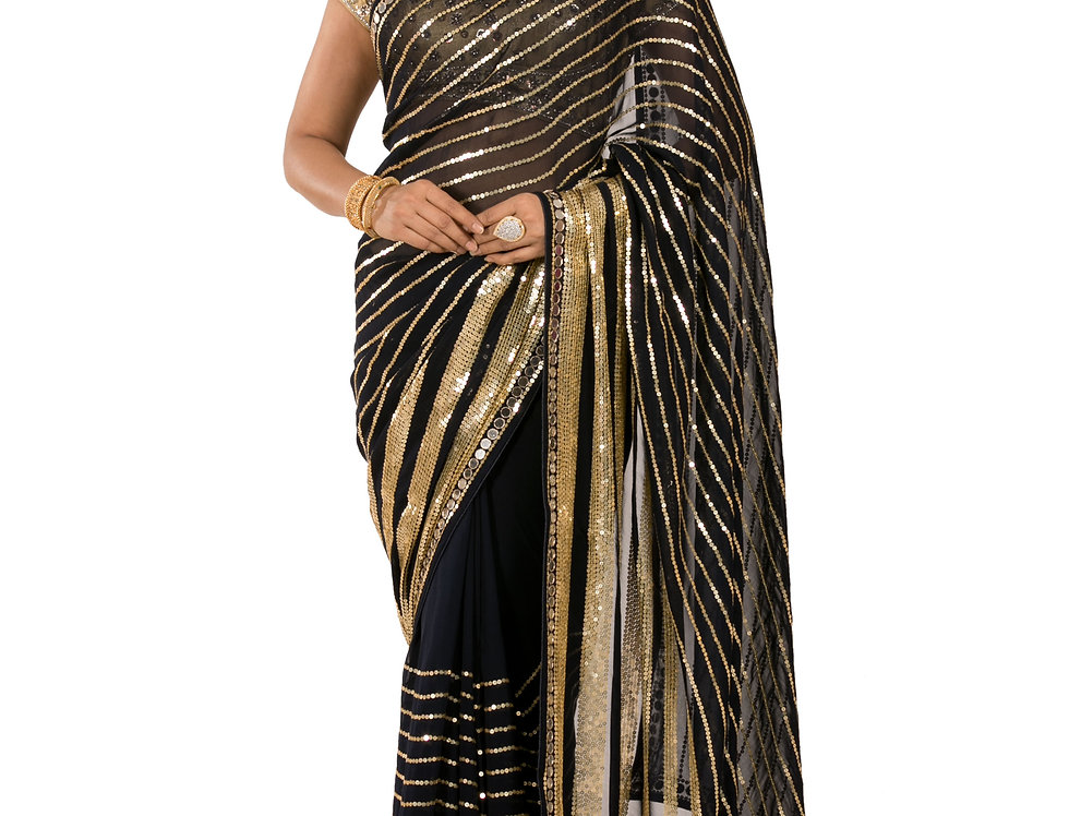 Black Base Georgette Designer Saree with Blouse (Style Code: 2389948)