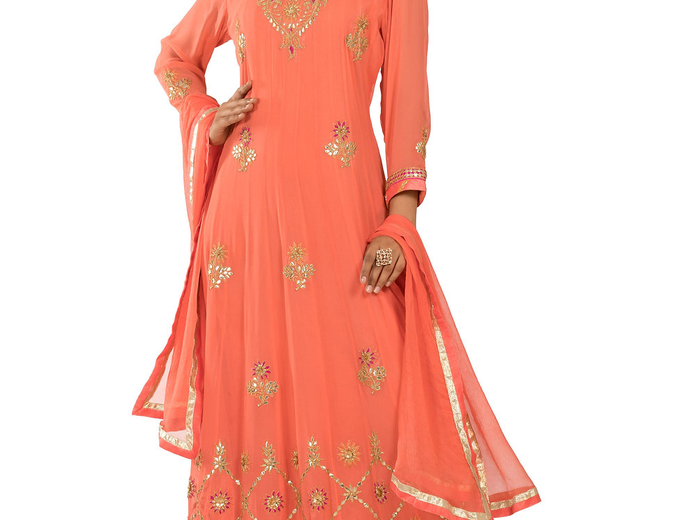 Peach Base Georgette Anarkali Suit & Dupatta (Style Code: 2314955)