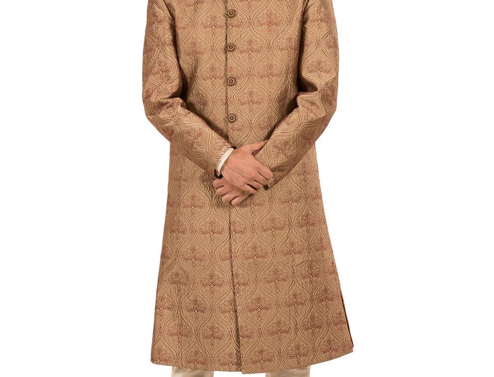Brown Base Sherwani with Embroidery & Churidar (Style Code: 2081710