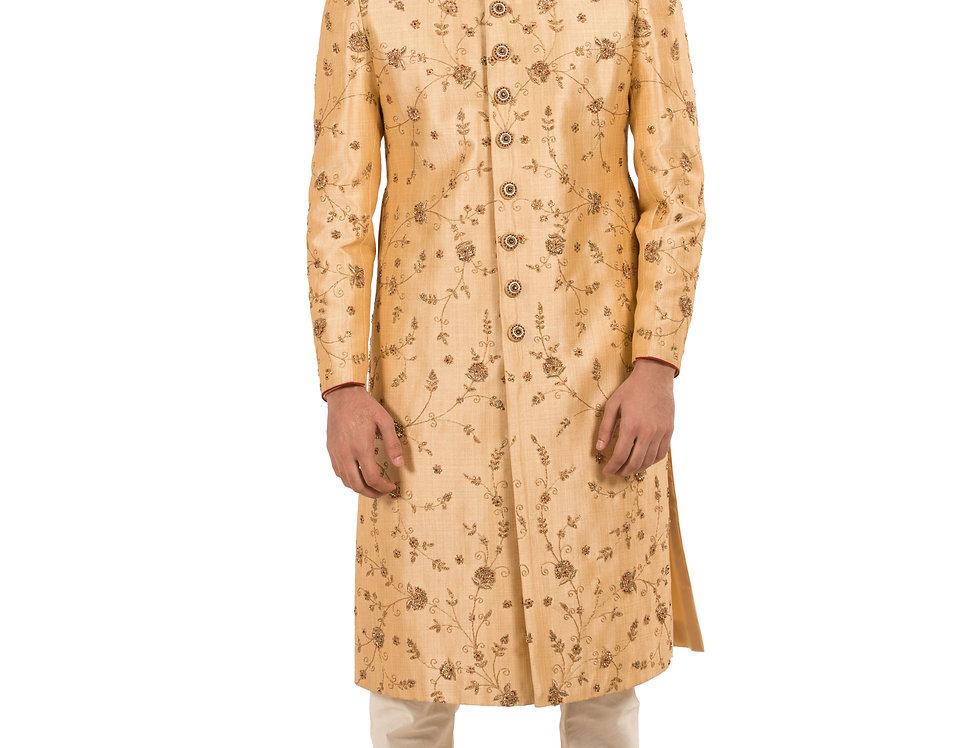 Gold Base Dupion Sherwani with Embroidery & Churidar(Style Code: 2295702)