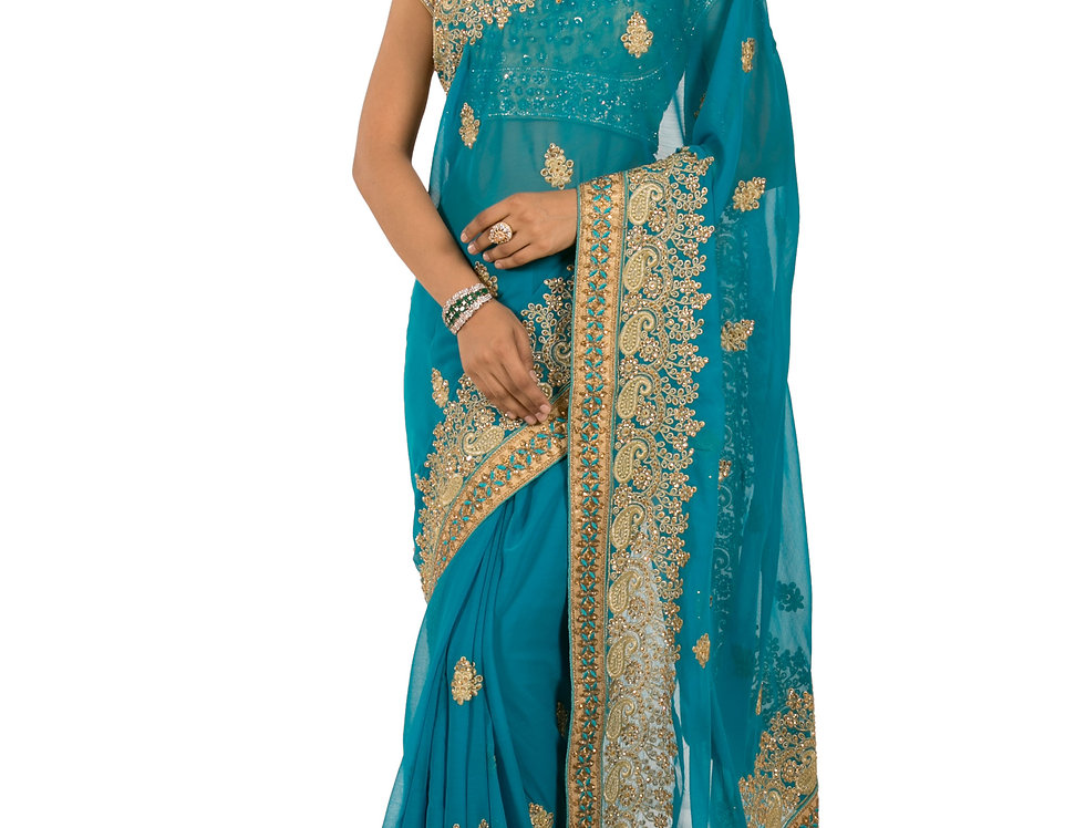 Firozi Base Georgette Designer Saree with Blouse (Style Code: 2200758)