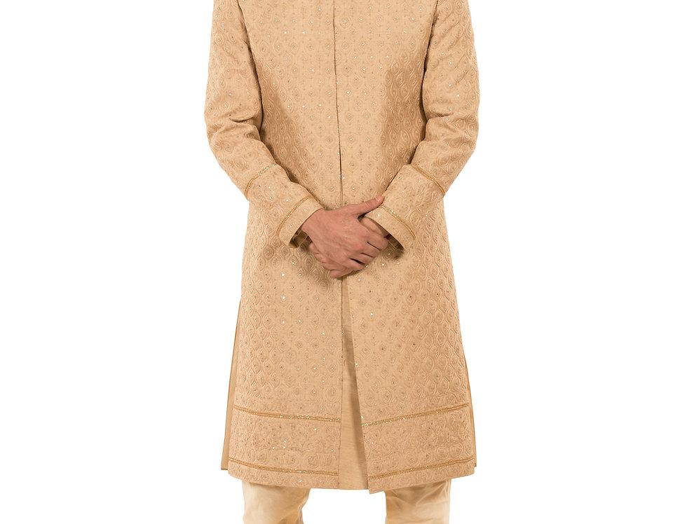 Beige Base Dupion Sherwani with Embroidery & Churidar (Style Code:2348168)