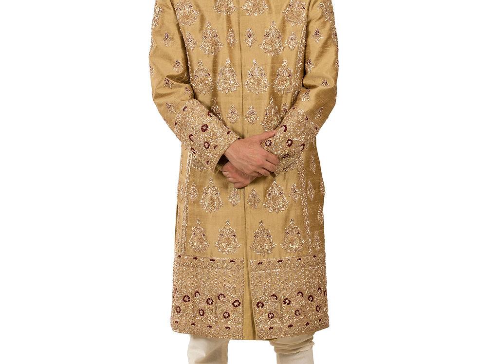Mustard Gold Base Raw Silk Sherwani with Zardozi Work (Style Code: 2390823)
