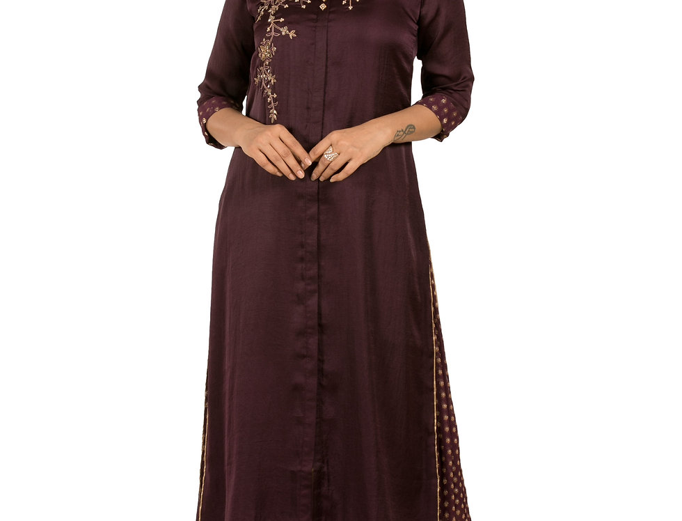 Wine Base Crepe Kurti with Fine Hand Embroidery (Style Code: 2388374)