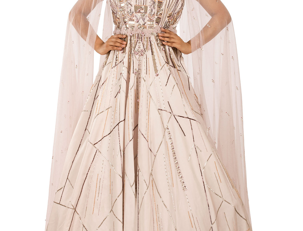 Nude Shade Party Wear Gown with Drape Style Veil (Style Code: 2362022)