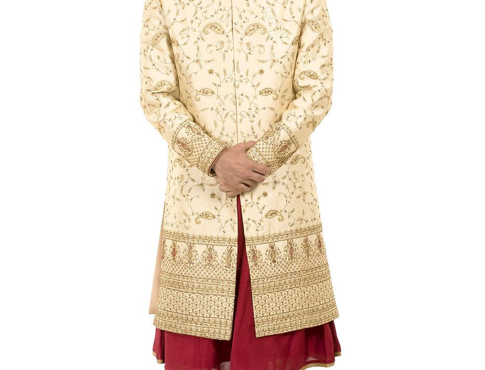 Light Gold Base Dupion Sherwani with Kasab & Resham Work (Style Code: 2352666)