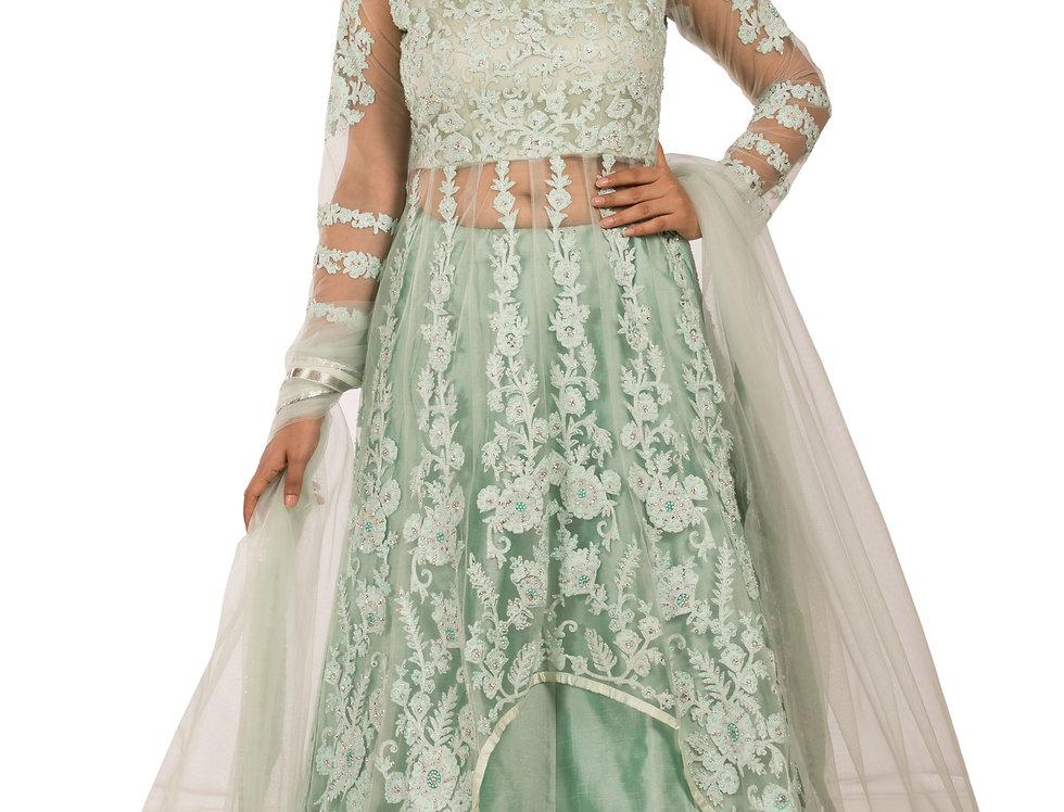 Pista Green Anarkali Suit with Skirt & Dupatta (Style Code: 2373762)