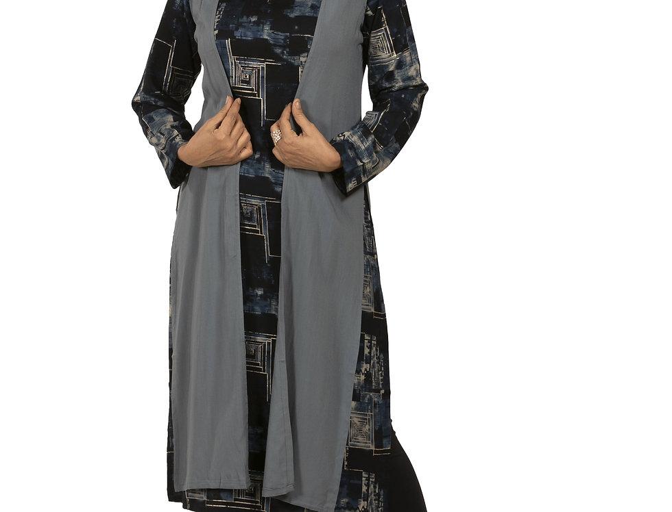 Blue Crepe Indo-Western Printed Kurti with Grey Jacket (Style Code: 2377285)