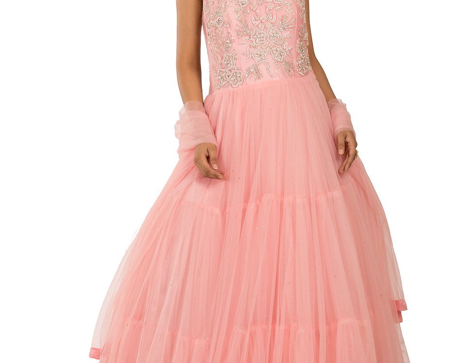 Pink Designer Net Gown with Embroidery work & Stole (Style Code: 2371872)