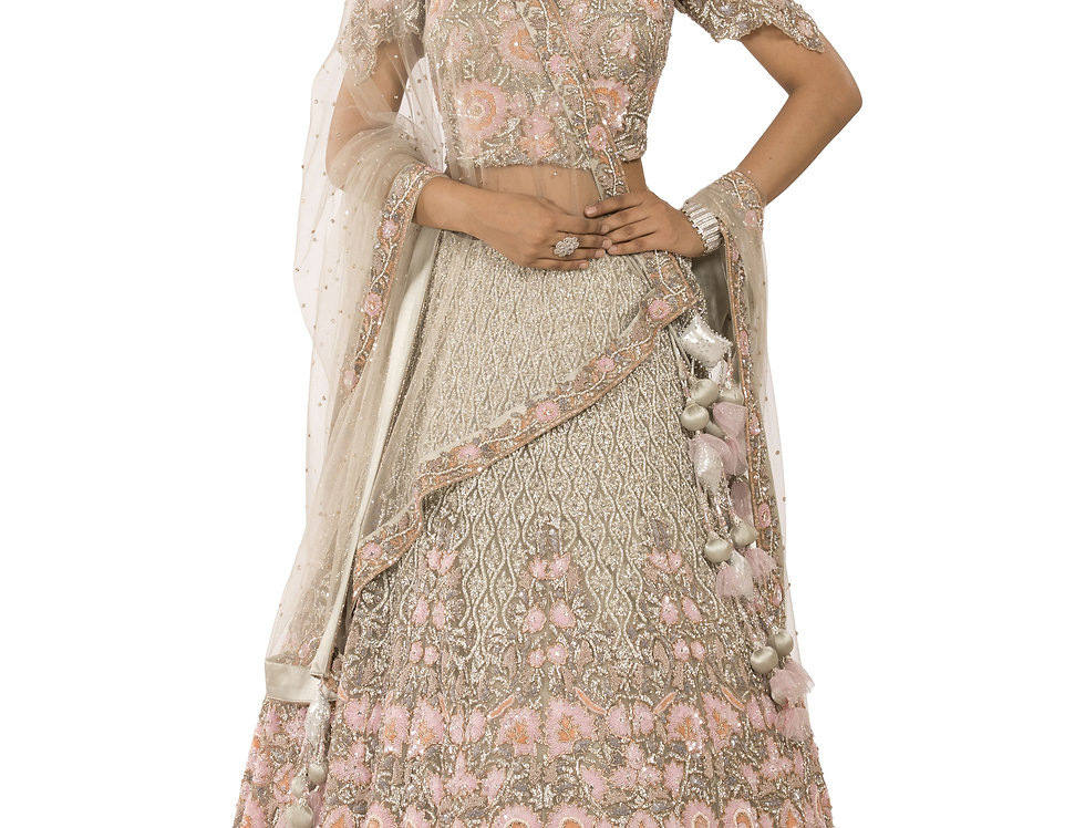 Off White Base Lehenga with Pink Sequence Work (Style Code: 2382362)