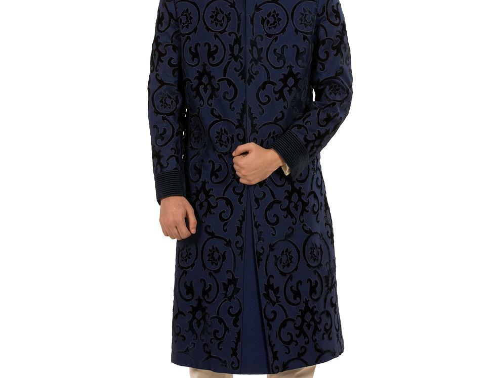 Navy Blue Dupion Sherwani with Applique Work & Churidar (Style Code: 1868051)