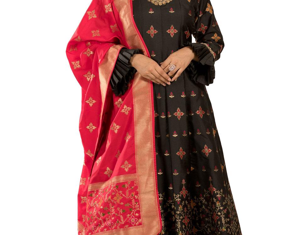 Black Anarkali Suit with Churidar & Dupatta (Code: 2365858)