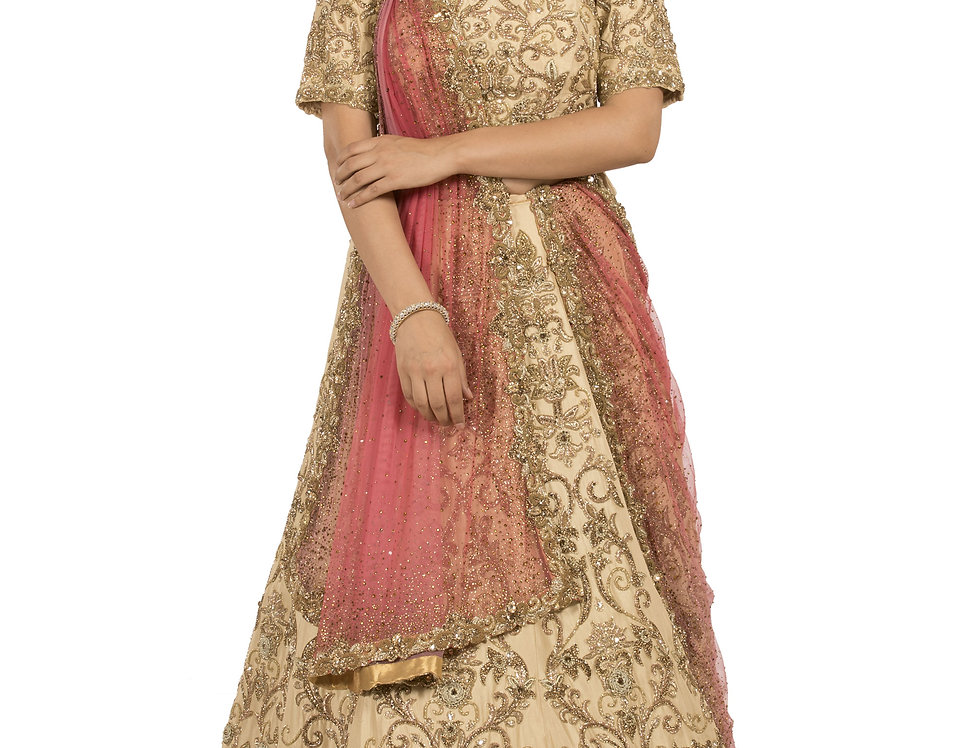 Gold Base Silk Lehenga with Coral Pink Dupatta (Style Code: 2321316)
