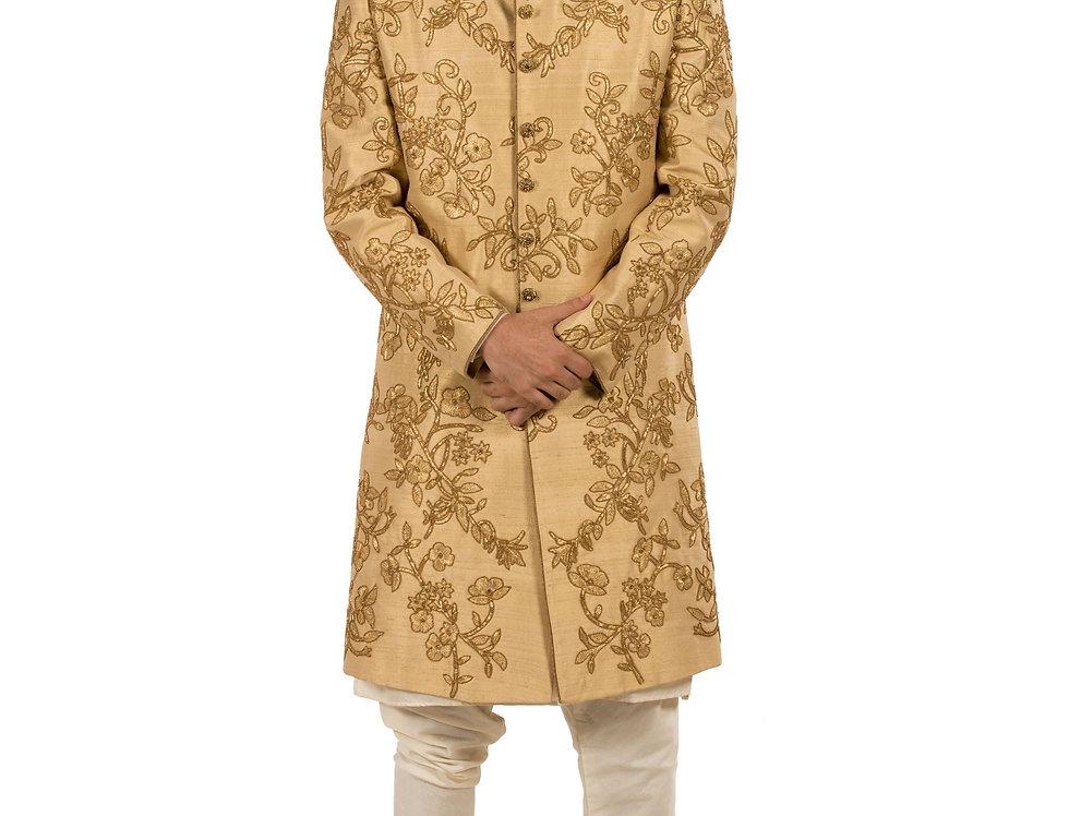 Gold Base Dupion Sherwani with Dabka & Cut Dana Work (Style Code: 2183585)