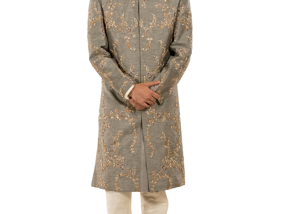 Grey Base Dupion Sherwani with Dabka &  Resham Work (Style Code: 2390822)