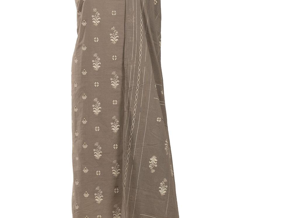 Grey & Cream Base Cotton Unstitched Suit Salwar & Dupatta (Style Code: 2383659)