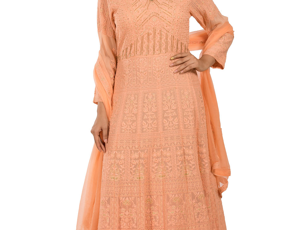 Peach Anarkali Suit with Embroidery Work & Dupatta (Style Code: 2345742)