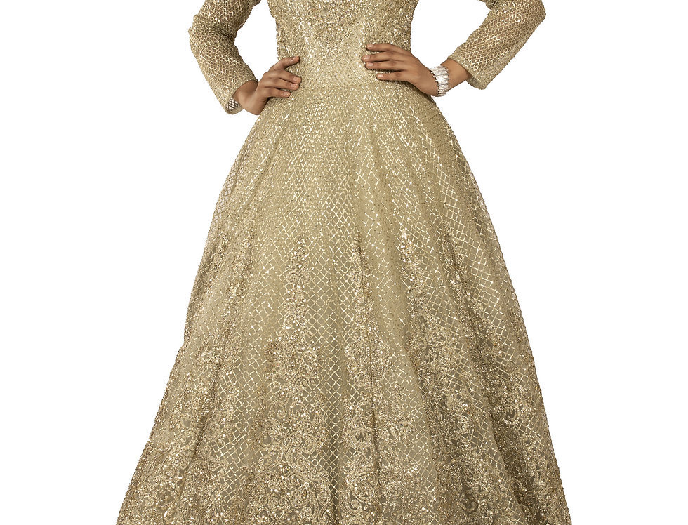 Light Pista Green Party Wear Gown with Zari & Crystal Work (Style Code: 2338861)