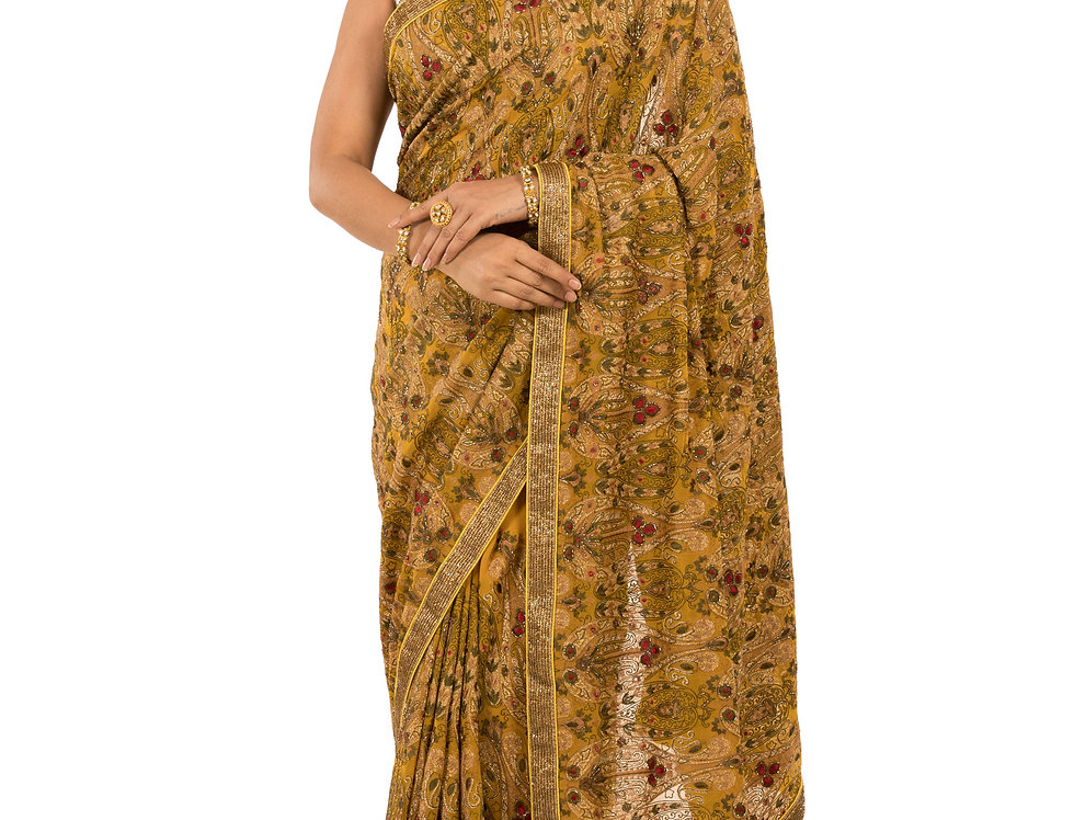 Mustard Base Georgette Saree with Cut Dana Work & Blouse (Style Code: 2387096)