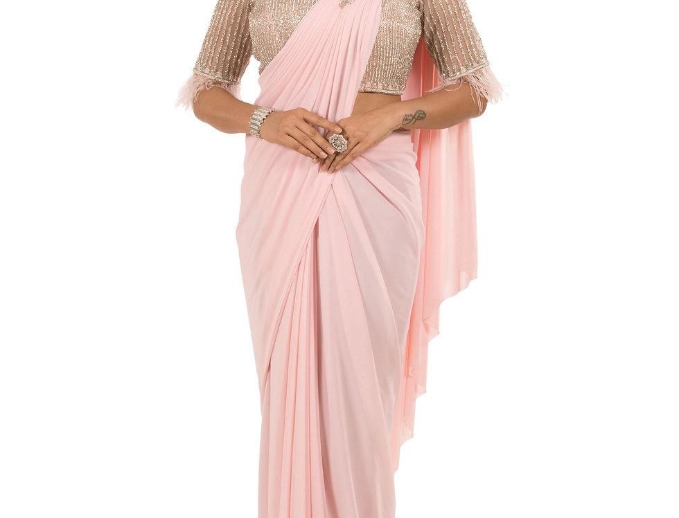 Pink Base Lycra Designer Stitch Draped Saree with Blouse (Style Code: 2385379)