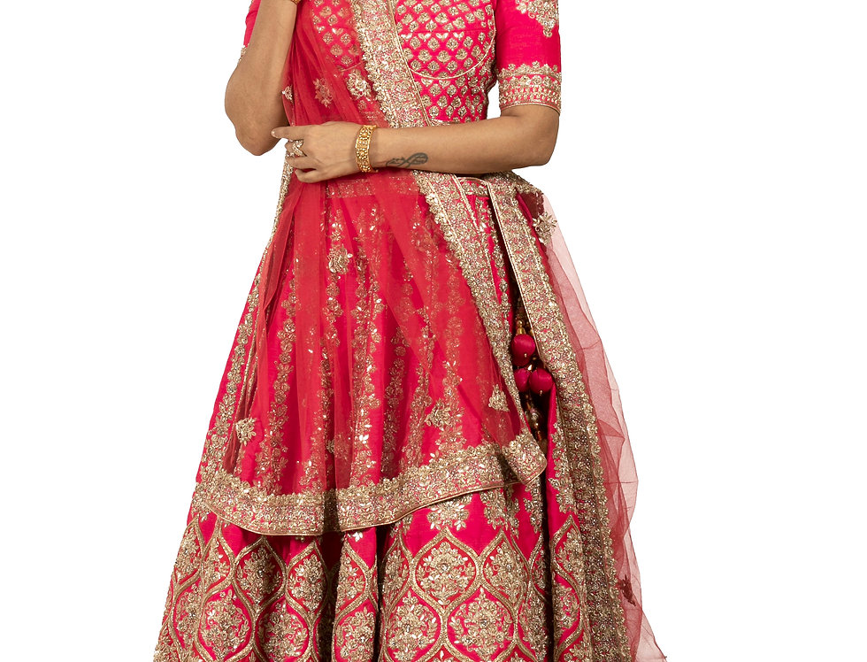 Fuchsia Raw Silk Lehenga with Zardozi Work & Dupatta (Style Code:2391134)