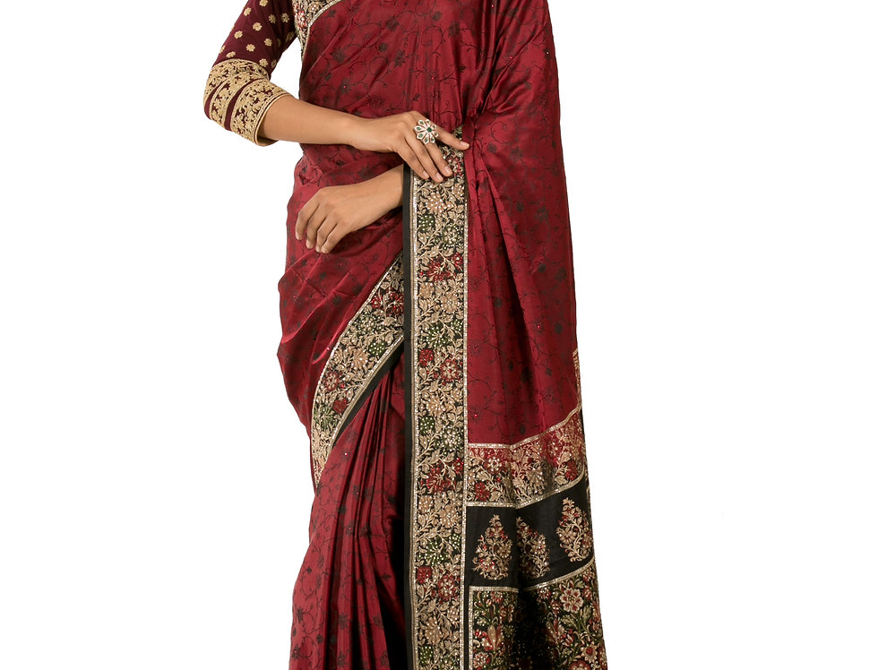 Maroon Cotton Silk Designer Fulkari Work Saree & Blouse (Style Code:2378830)