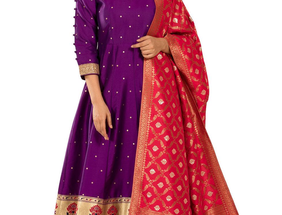 Purple Anarkali Suit with Churidar & Dupatta (Style Code: 2354474)