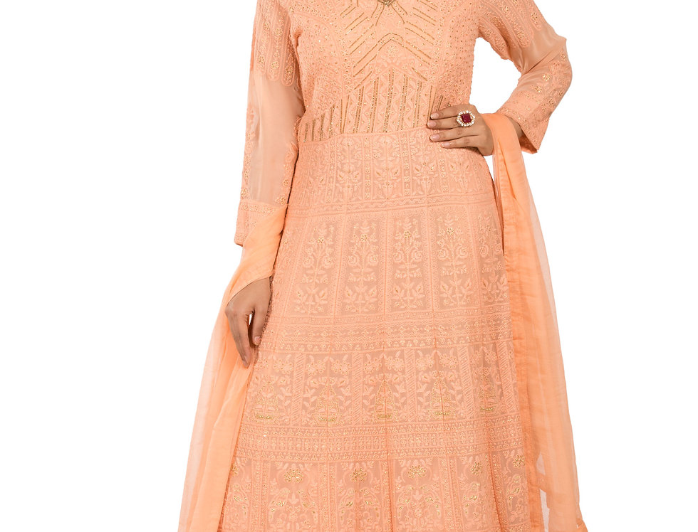 Peach Base Readymade Designer Georgette Suit with Dupatta (Code: 2334870)