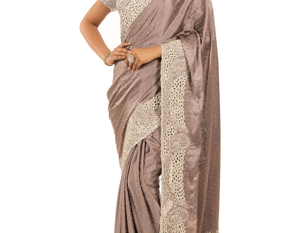Mouse Color Satin Saree with Zarkan Cut Work & Blouse (Style Code: 2313008)