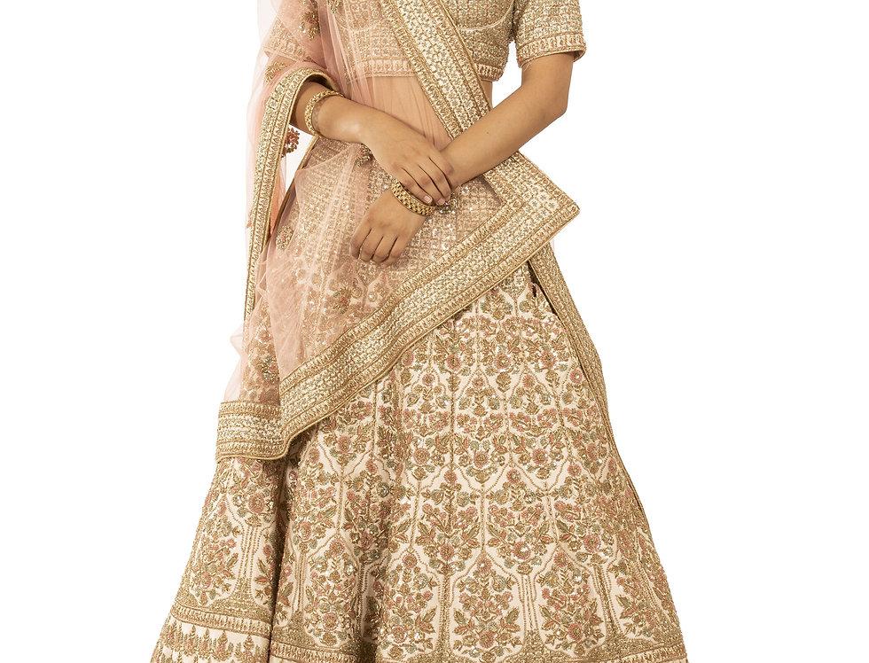 Ivory Silk Lehenga with Multicolor Threadwork (Style Code: 2338752)
