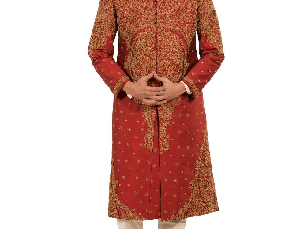 Maroon Base Dupion Sherwani with Embroidery & Churidar (Style Code: 2081715)