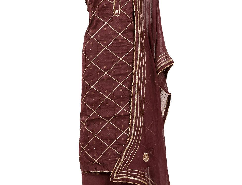 Wine Base Cotton Unstitched Suit Salwar & Dupatta (Style Code: 2370282)