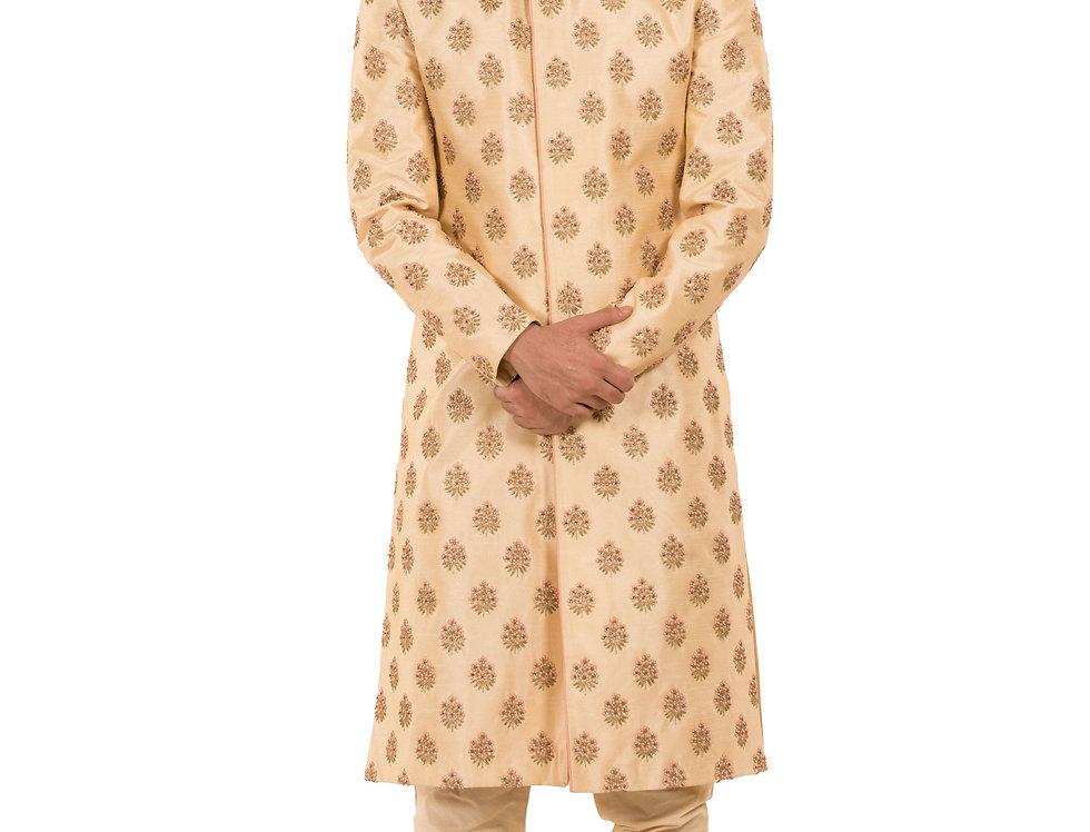 Lemon Base Dupion Sherwani with Embroidery & Churidar (Style Code: 2391099)