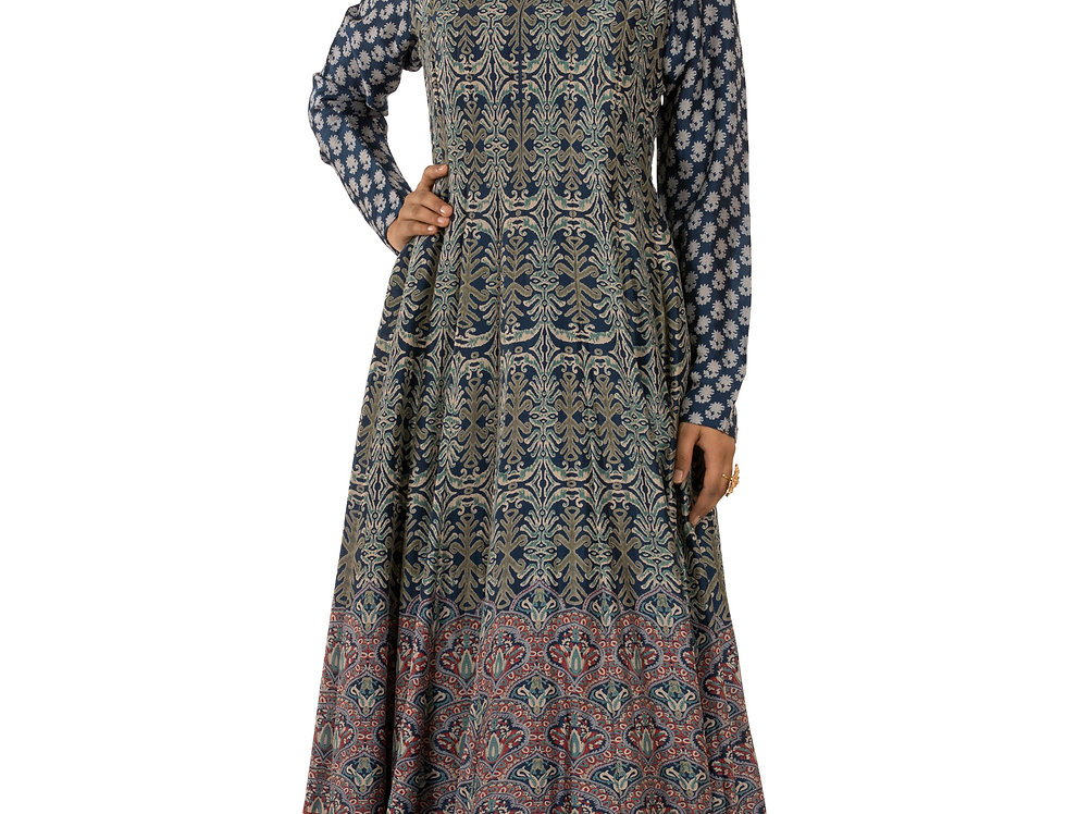 Blue Base Printed Floor Length Dress with Embroidery Work (Style Code: 2385397)
