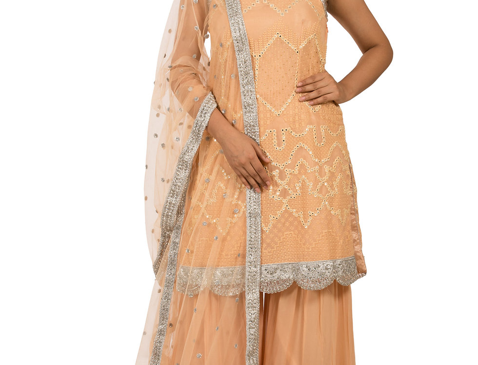 Peach Base Georgette Suit with Sharara & Dupatta (Style Code: 2378390)