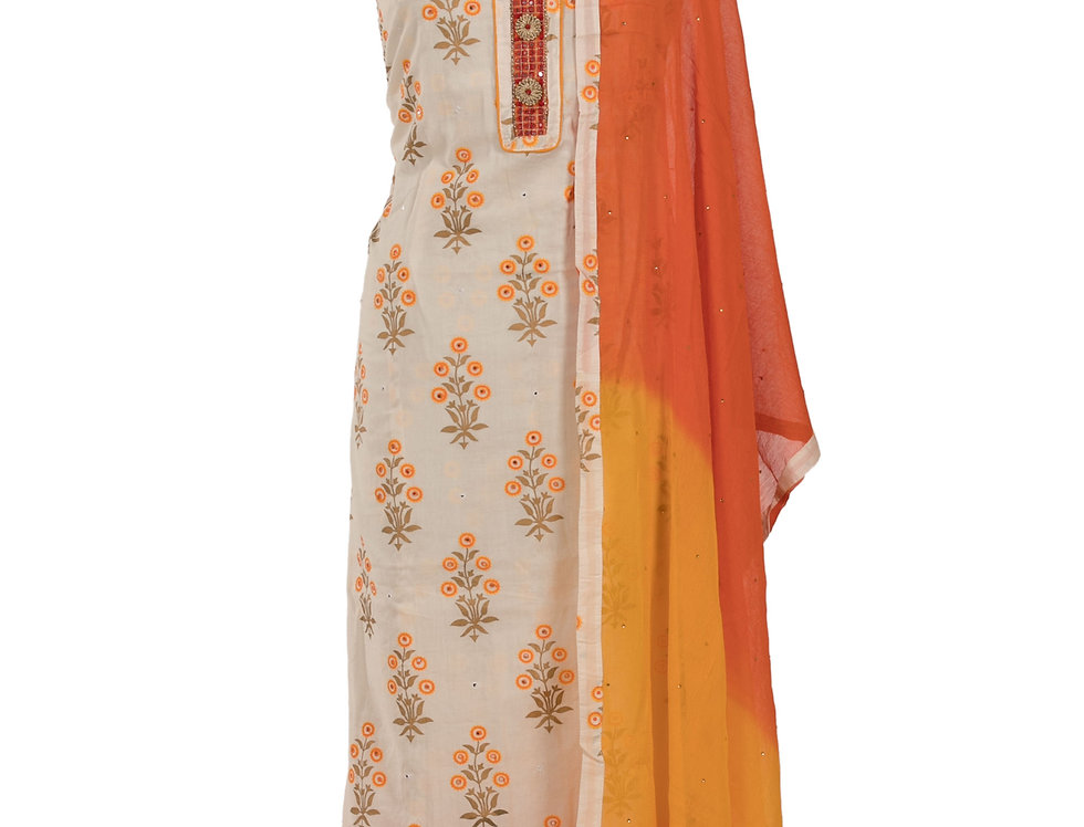 Cream & Orange Cotton Unstitched Suit Salwar & Dupatta (Style Code: 2349781)
