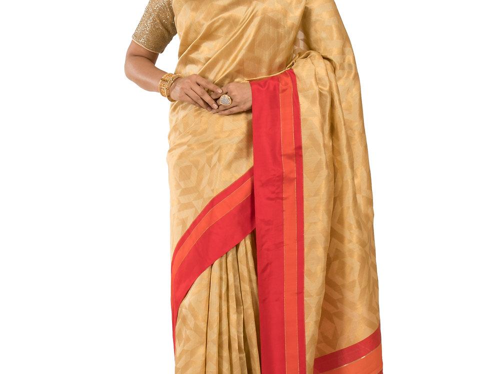 Gold Base Cotton Silk Designer Zari Work Saree & Blouse (Style Code:2362777)