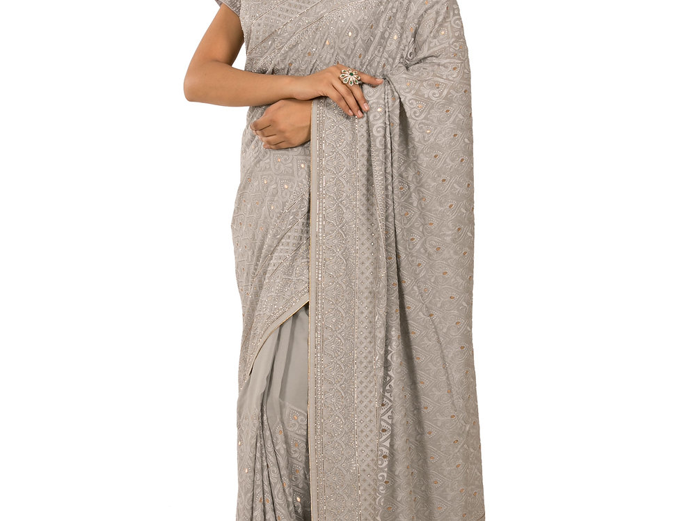 Grey Georgette Designer Saree with Stone Work & Blouse (Style Code: 2345171)