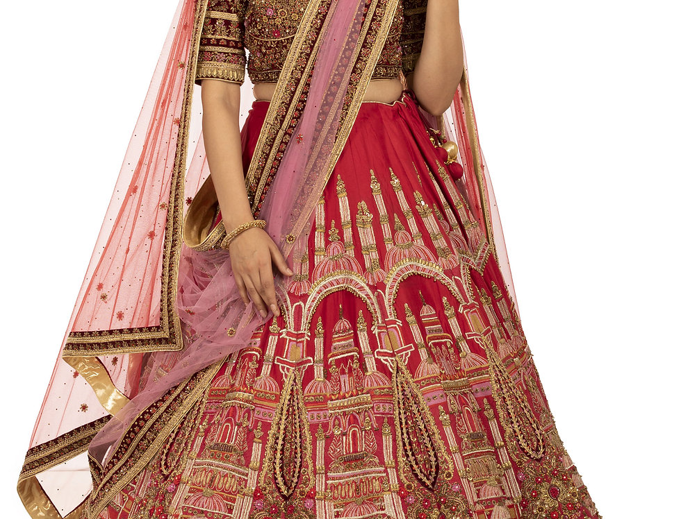 Red Designer Silk Lehenga with Threadwork with Dupatta (Style Code: 2382361)