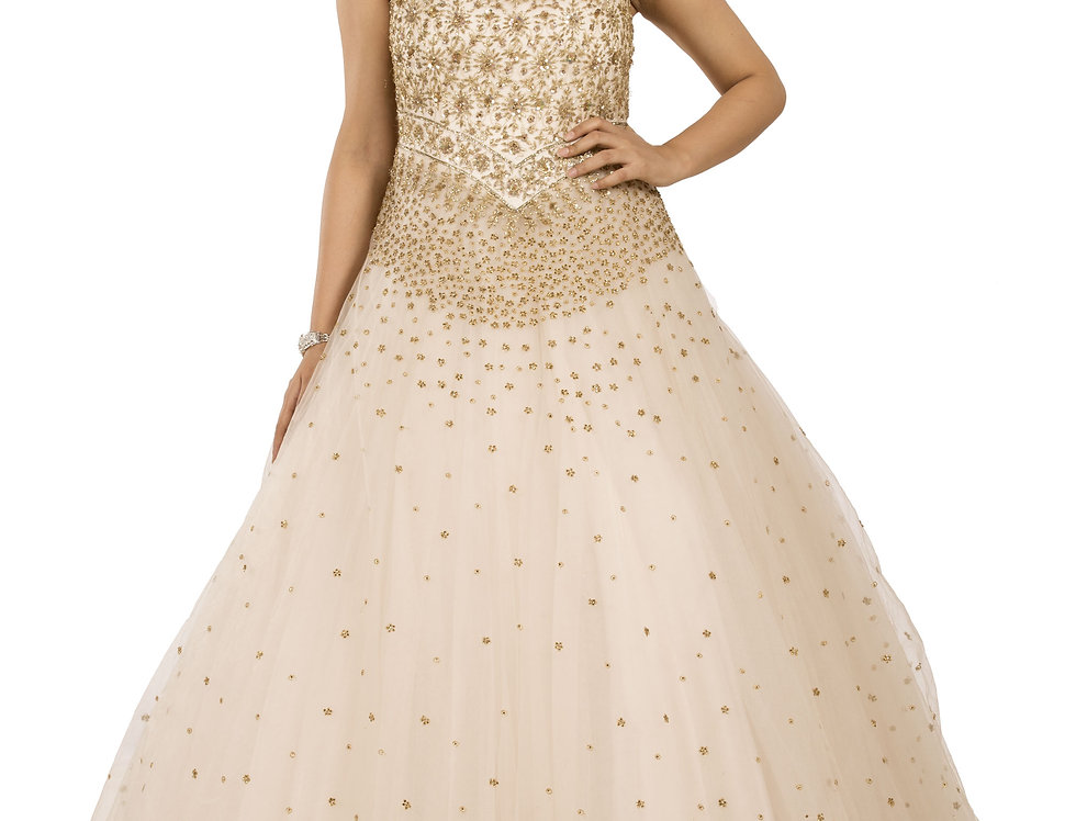 Rose Gold Party Wear Gown with Light Gold Sequence Work (Style Code: 2329148)