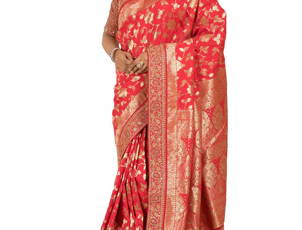 Red Base Silk Designer Saree with Zari Work & Blouse (Style Code: 2388189)