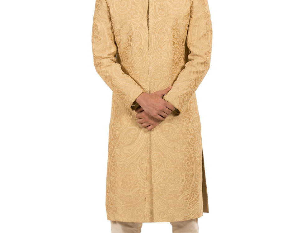 Gold Dupion Sherwani with Embroidery & Churidar (Style Code: 2094097)