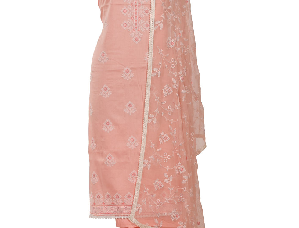 Peach Base Cotton Unstitched Suit Salwar & Dupatta (Style Code: 2389833)