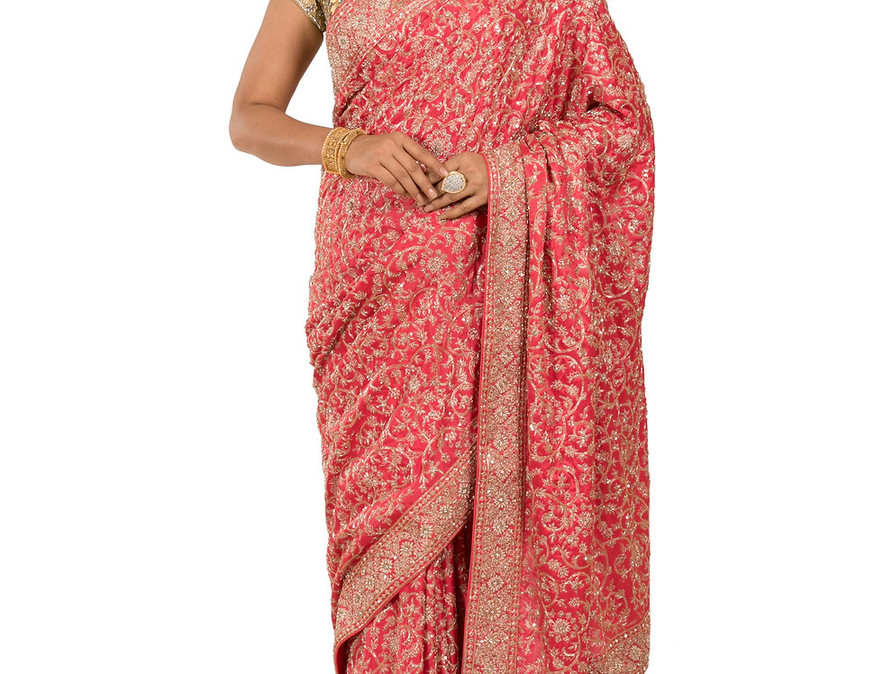Coral Base Pure Satin Designer Saree with Blouse (Style Code: 2317105)