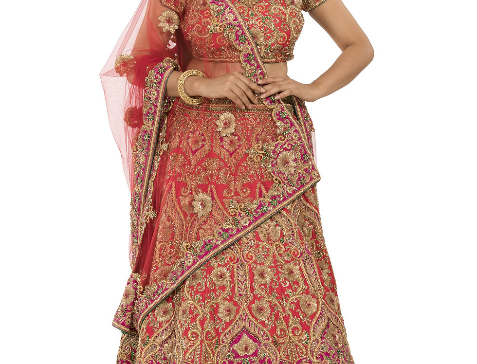 Red Silk Lehenga with Crystal Sequence Work & Dupatta (Style Code: 2311519)