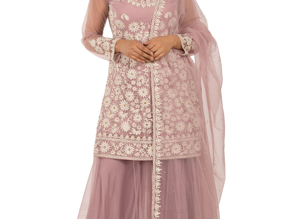 Mauve Base Readymade Net Suit with Sharara & Dupatta (Style Code: 2318527)